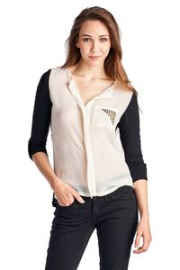 Women's Knit to Woven Colorblock Top with Pocket $22.59