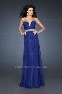 Blue Prom A-line Strapless La Femme 18457 Dresses 2013 with Pleated Bodice