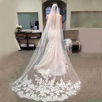 Fashion One Layer 3m Long Bridal Veil Elegant Lace White/Ivory Appliques For Wedding Party Bridal Veil �'�1797.73