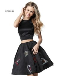 51397 Halter Neck 2 Pieces Beaded Hearts Pattern Short Satin Dress For Homecoming by Sherri