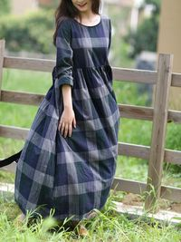 Womens dresses, Linen dresses, plaid dress women, long sleeve dress, Beach dress, Cocktail dress, Party dress
