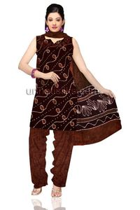 Unstitched casual hues of brown Batik pure cotton salwar kameez