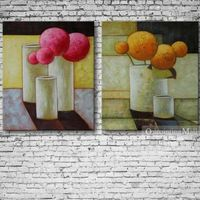 Hand-painted Oil Painting Still Life Set Of Two On Canvas