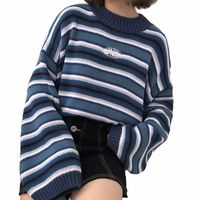 Women's Sweaters Kawaii Ulzzang Loose Wild Thick Striped Student Sweater Lady Clothing Female Korean Harajuku Pullover For Women $28.00