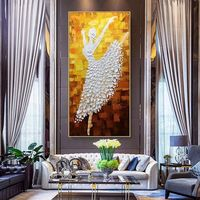 Oil Ballet Dancer original painting On Canvas Wall Pictures Large canvas art painting Abstract Palette Knife Home decor cuadros abstractos $99.00