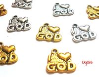 CLEARANCE Pack of 35 I Love God Heart Pendants. Different Colours. 14mm x 13mm £8.99