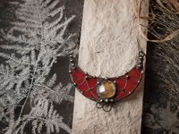 Pendant Red Moon - Stained Glass - Gothic Necklace - Modern Pendant - modern art - Witch Necklace - modern art jewelry $33.00