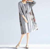 gray Stitching Loose dress women Spring and summer wear dress