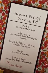 Groom's day-of survival kit. I have to make one of these!