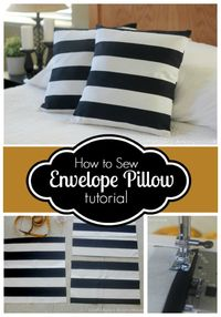 Learn how to sew Envelope Pillow in 15 minutes flat! Quick and easy to follow tutorial with great pictures. Great way to refresh your decor on the cheap!