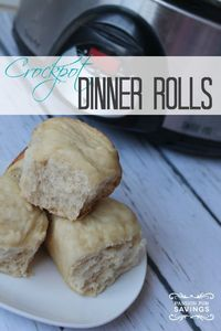 Super Easy Crockpot Dinner Rolls Recipe! You can make these in just a few hours in your crock pot + this is also a freezer cooking recipe. Make the rolls ahead of time and just cook what you need in your crock pot when you're ready!