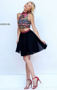 sophisticated cocktail dress by Sherri Hill 50140 is ready to party