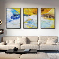 Set of 3 wall art blue mustard Abstract acrylic framed paintings on canvas original large wall art set 3 pieces wall art cuadros abstractos $163.53
