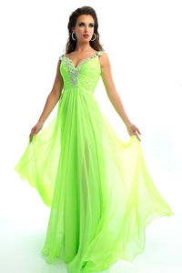 Prom Dresses Empire Waist V Neck Spaghetti Straps Floor Length Chiffon