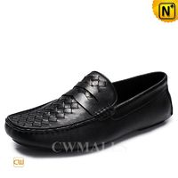Men Loafers @ CWMALLS® Black Leather Woven Loafers CW706165