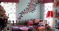 Butterfly bedroom - love it! The picket fence daybed is cute too. I've often thought white pickets along a wall with flowers painted behind it would be nice too.