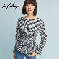 Vogue Simple Slimming Curvy Lattice Fall Tie Frilled 9/10 Sleeves Blouse - Bonny YZOZO Boutique Store