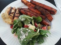 Chili grilled sweet potatoes, fruit salad w/spinach, grilled honey dijon chicken
