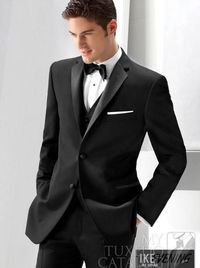 Custom Center Vent Two Buttons Black Groom Tuxedos Best Man Peak Lapel Groomsmen Men Wedding Suits Bridegroom TuxedosJacket+Pants+Tie+Vest Slim Fit Groom Tuxedos Wedding Tuxedos for Men Men Wedding Suits Online with $89.15/Piece on Bestdress168's Stor...