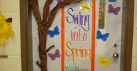 Classroom Door Spring...if 3D tree is too hard to attach, paint it on.
