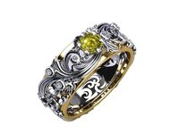 Floral Band Ring Yellow Stone Wedding Band Citrine Silver Edwardian Ring Accent Diamonds Milgrain Band Engraved Ring Flower Band, Leaf Ring $339.10