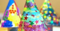Easy 3D Paper Plate Christmas Trees for kids of all ages to paint and decorate!
