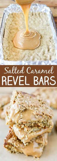 Oh my goodness, friends! Run, don't walk, to make these amazing Salted Caramel Revel Bars. Revel Bars are an oatmeal cookie bar featuring a layer of oatmeal coo