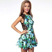 Printed Split Front Hollow Out Crochet Sleeveless High Waisted Lace Dress - Bonny YZOZO Boutique Store