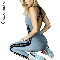 Casual Athleisure bodycon jumpsuit fitness bodysuit women sleeveless catsuit spliced print Bohemian overalls pants rompers sale $41.00