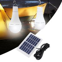 Portable 7W Solar Panel USB Rechargeable Camping Light 20 COB LED Bulb Lamp for Outdoor Emergency
