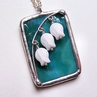 Stained Glass Belle Fleur Pendant Necklace. .