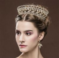 PREORDER Elegant Vintage Gold Crystal Bridal Wedding Pageant Tiara Crown & Earrings Set $69.00