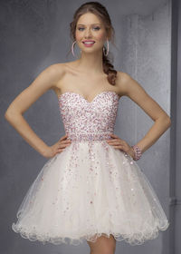 Short Mori Lee 9286 Champagne Strapless Beaded Party Dress