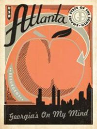 Atlanta: Print Shop - NEWPrint Shop Poster Series Atlanta, Georgia: The Print Shop Series features poster art created in limited color palettes commonly used by 19th 20th Century letterpress print shops. These original prints are inspired by classic trave...