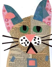 Cat Art CAT COLLAGE Painting Art Mixed Media by doggieartpictures, $9.99