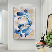 Framed wall art Gold Leaf blue painting Abstract acrylic paintings on canvas art original painting black painting Large wall art $123.75