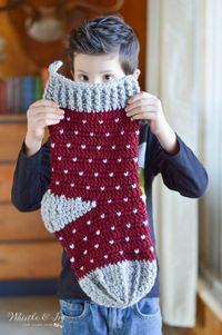 FREE Crochet Pattern: Crochet Snowfall Stocking | This classic and simple stocking is perfect for your rustic Christmas! Learn the easy Snowfall Technique.