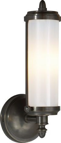 MERCHANT SINGLE WALL LIGHT in polished nickel finish with white glass shade.