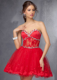 Cheap Red Strapless Beaded Lace Homecoming Dress 2014