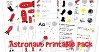 Free Astronaut/space theme printables for #preschool and #kindergarten from http://homeschoolcreations.com