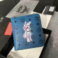MCM Rabbit Visetos Zip Short Wallet In Blue
