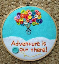 "Up-Inspired 7"" Inch Hoop Art - Disney/Pixar, Nursery Art, Playroom Art, Aqua blue decor, Buttons, Clouds, Adventure, Quotes"