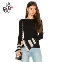 Vogue Solid Color Slimming Flare Sleeves Fall Stripped Sweater - Bonny YZOZO Boutique Store