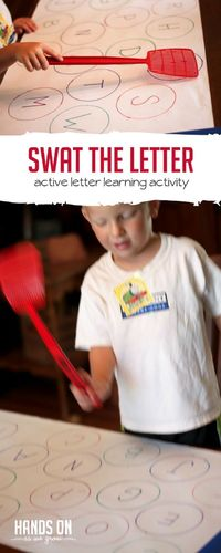 Have fun with letter learning with a simple and fun letter swat! Have toddlers find the letter and give it a big swat! Take turns!