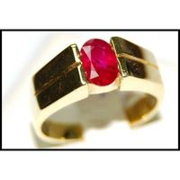 18K Yellow Gold Natural Ruby Solitaire Eternity Ring [RS0054]