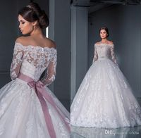 Vintage Bridal Gowns Luxurious Ball Gown Princess Lace Wedding Dresses 2016 New Off The Shoulder Long Sleeves Chapel Train Tulle Appliques Beads Bridal Gowns Bride Wedding Dresses From Olesa, $145.29| Dhgate.Com