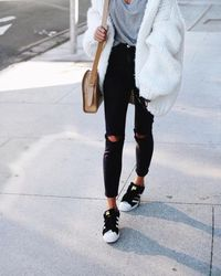 chunky white cardigan winter outfit