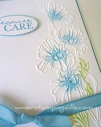 To add a subtle pop of color to the flowers, simply rub an inked sponge dauber over the embossed image!