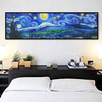 Starry Night Painting Vincent van gogh oil painting on canvas impasto heavy texture large painting wall art hand painted cuadros abstractos $99.00