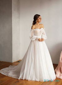 H0488 Unique off the shoulder polka dot bridal wedding dress More Details: https://tinyurl.com/yar92oj5